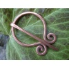 Handmade copper pennanular brooch pin with scroll end