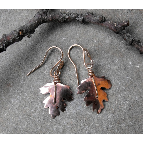 Copper hawthorn leaf earrings