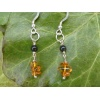 Handmade Silver, amber and jet earrings